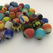 Load image into Gallery viewer, Chevron Glass Bead Mix, Large Barrel, 12-14 mm - 40 Beads