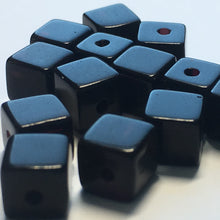 Load image into Gallery viewer, Opaque Black Glass Cube / Square Beads, 6 mm - 14 Beads