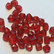 Load image into Gallery viewer, Transparent Red Glass Faceted Bicone Beads, 4.75 x 3.75 mm, 39 Beads