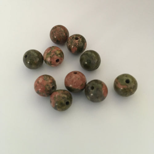 Unakite Semi-Precious Stone Rounds 8 mm, 10 Beads