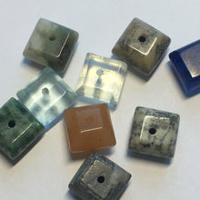 Load image into Gallery viewer, Marbled and Plain Glass Square Flat Beads, Multiple Colors, 8 x 5.5 mm, 9 Beads