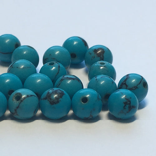 Turquoise Round Glass Beads, 4.5 mm - 21 Beads