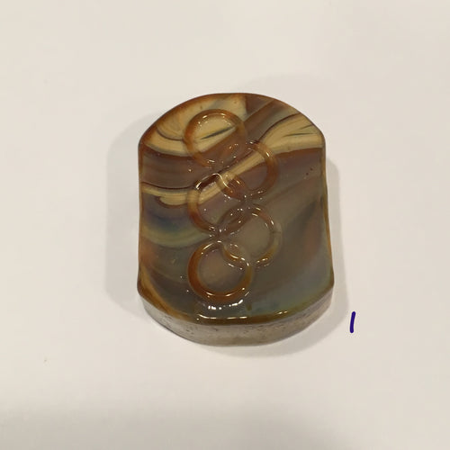Glass Focal Bead, Two-Strand, 19 x 24 x 10 mm, Bead I