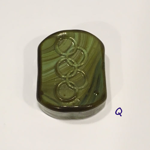 Glass Focal Bead, Two-Strand, 19 x 24 x 10 mm, Bead Q