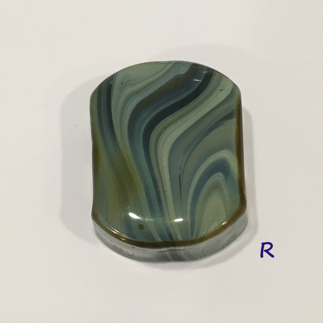 Glass Focal Bead, Two-Strand, 19 x 24 x 10 mm, Bead R