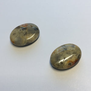 Agate Oval Flat Beads, 18 x 13 x 6 mm, 2 Beads