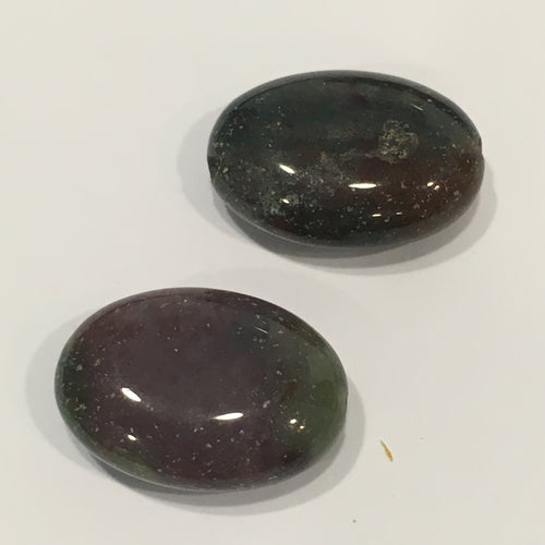 Dark Green Bloodstone Semi-Precious Stone Oval Flat Beads, 18 x 13 x 7 mm, 2 Beads