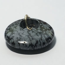 Load image into Gallery viewer, Snowflake Obsidian Oval Semi-Precious Stone Pendant, 30 x 25 x 7 mm