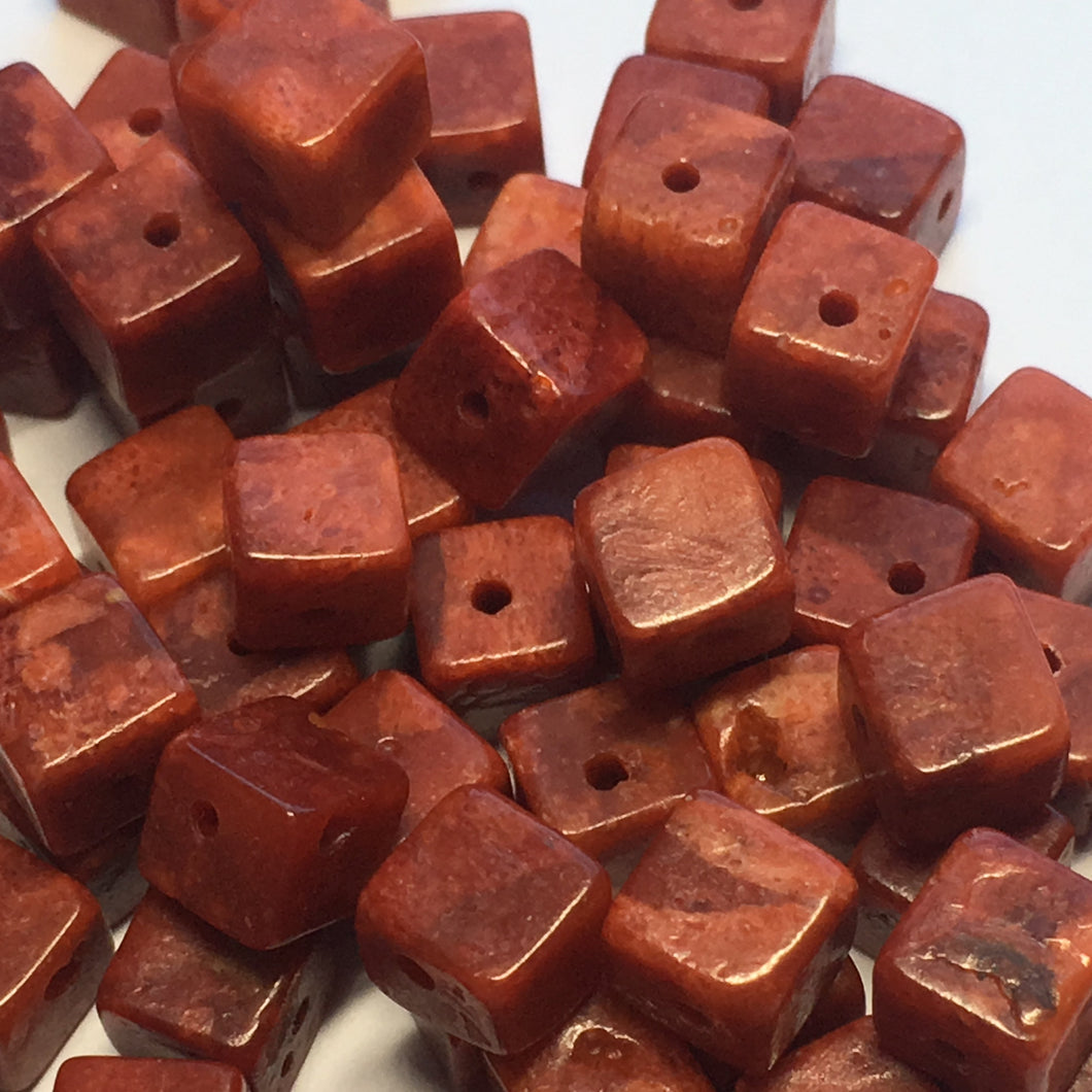 Red Coral Cube / Square Beads, 6 mm, 30 Beads