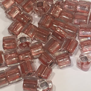 TOHO  4 mm Dusty Rose Lined Crystal Cube / Square  Beads , 5 gm