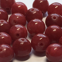 Load image into Gallery viewer, Dyed Red Jade Semi-Precious Stone Round Beads 8 mm, 22 Beads