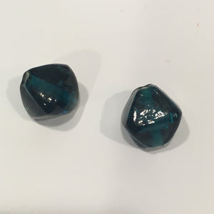 Teal Lampwork Bicone Focal Beads, 14 x 12 mm,  2 Beads