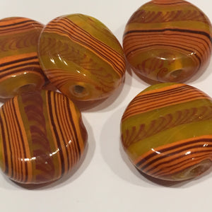 Orange, Yellow and Brown Striped Lampwork Glass Coin Beads, 17 x 8 mm - 6 Beads