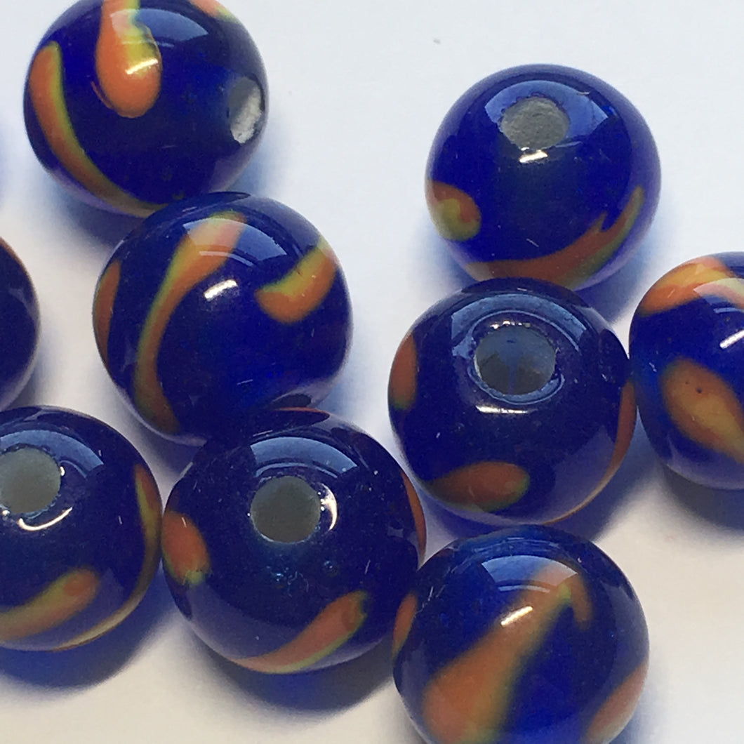 Blue and Orange Lampwork Glass Round Beads, 10 x 12 mm, 11 Beads