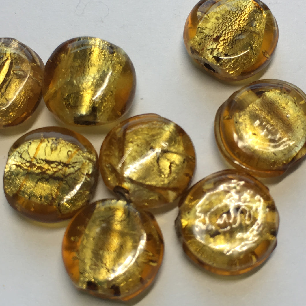 Gold Dichroic Lampwork Glass Coin Beads, 11 x 5 mm - 10 Beads