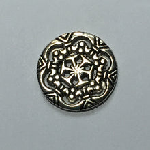 Load image into Gallery viewer, Antique Silver Round Snowflake Pattern Charm, Focal or Link Bead, 18 mm