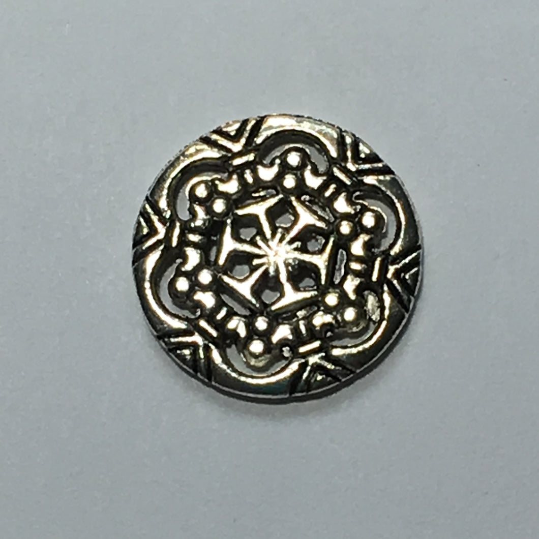 Antique Silver Round Snowflake Pattern Charm, Focal or Link Bead 18 mm