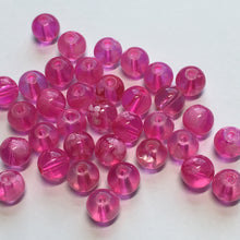 Load image into Gallery viewer, Transparent Pink with White Round Glass Beads, 6 mm - 36 Beads