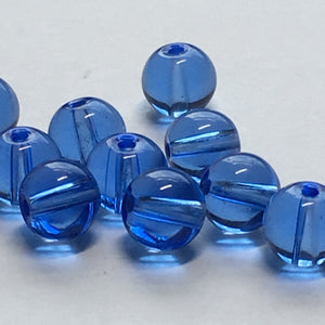 Transparent Blue Glass Round Beads, 6 mm,  11 Beads
