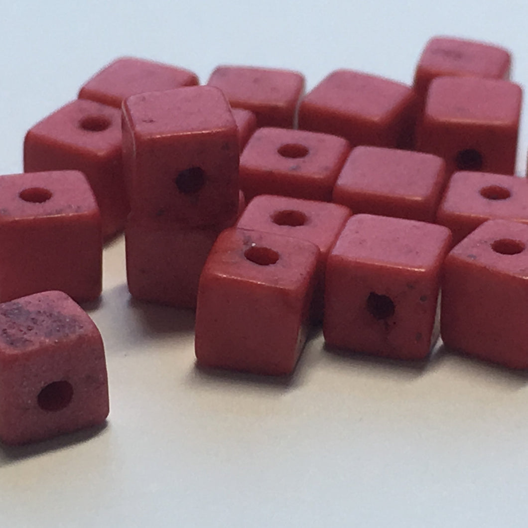 Pink Stone Cube / Square Beads, 4 mm, 23 Beads