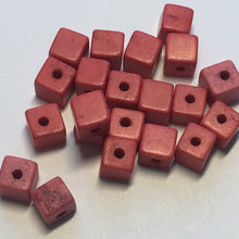 Load image into Gallery viewer, Pink Stone Cube / Square Beads, 4 mm, 23 Beads