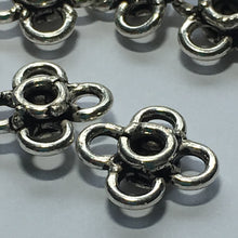 Load image into Gallery viewer, Antique Silver Flower Links, 10 x 10 mm - 9 Links