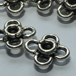 Antique Silver Flower Links, 10 x 10 mm - 9 Links