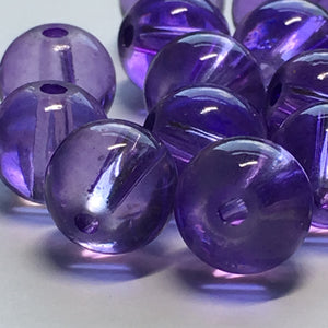 Transparent Purple Round Glass Beads, 8 mm - 30 Beads