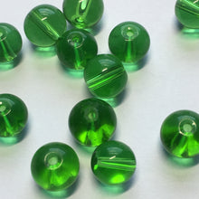 Load image into Gallery viewer, Transparent Green Round Glass Beads, 8 mm - 12 Beads