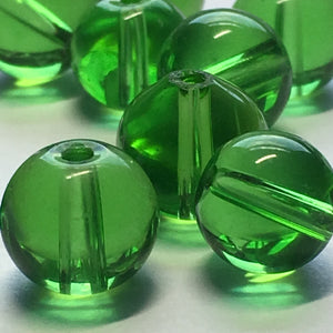 Transparent Green Round Glass Beads, 8 mm - 12 Beads