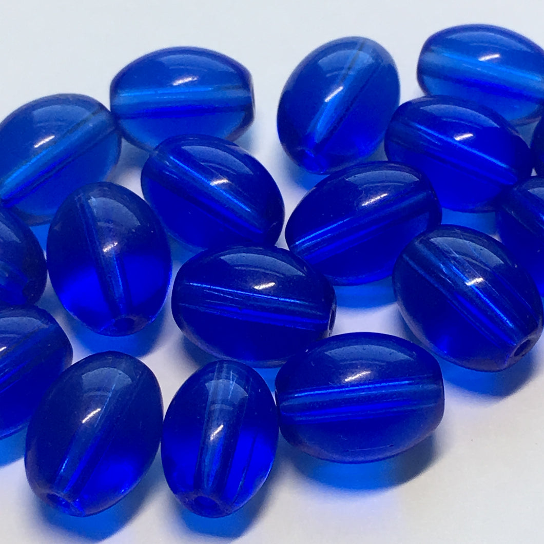 Transparent Blue Oval Glass Beads, 11 x 8 mm, 29 Beads
