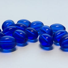 Load image into Gallery viewer, Transparent Blue Oval Glass Beads, 11 x 8 mm, 29 Beads