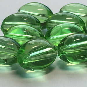 Transparent Green Oval Glass Beads, 11 x 8 mm, 13 Beads