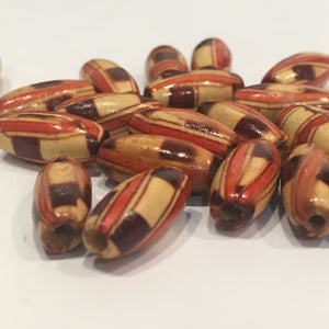Painted Wooden Oval Beads, 15 x 7 mm, 20 Beads