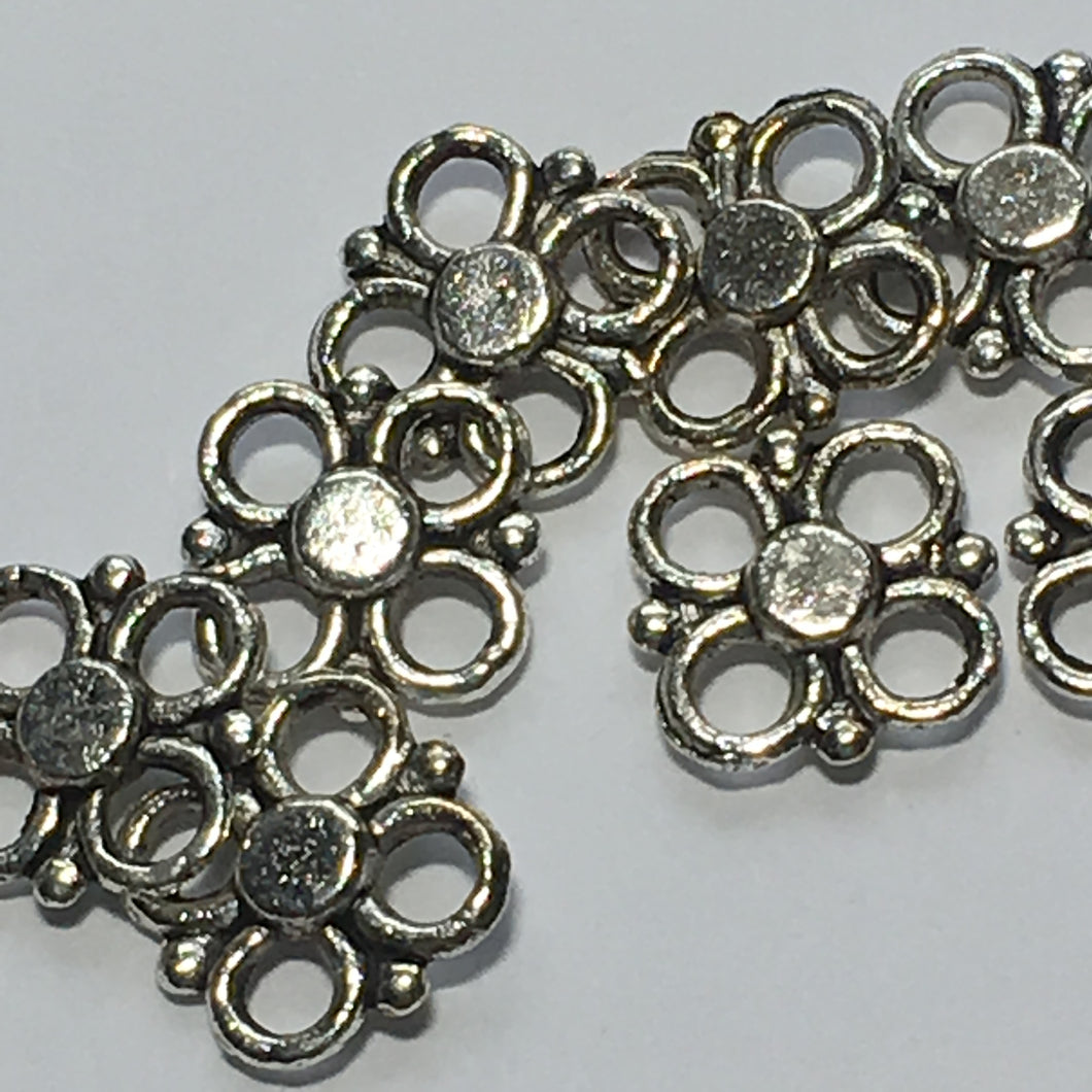 Antique Silver Flower Links, 10 x 10 mm - 10 Links