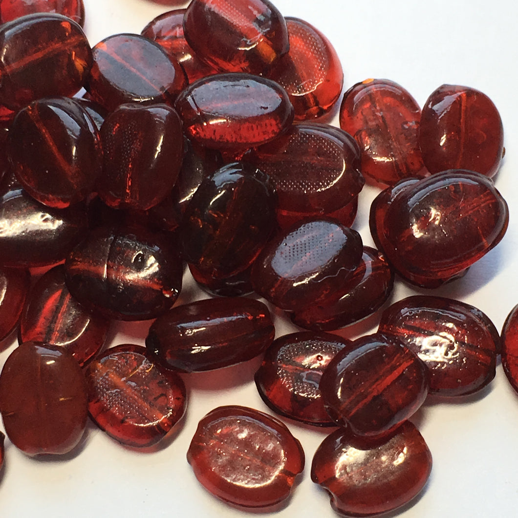 Red Pressed Glass Flat Oval Beads 7.5 x 7 - 10 x 8 mm, 99 Beads