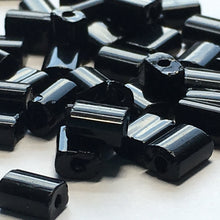 Load image into Gallery viewer, Opaque Black Glass Flat Rectangle Beads, 5 x 4 x 3 mm Average Size - 25 or 50 Beads