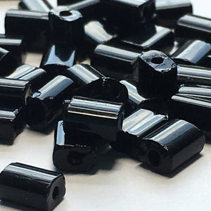 Opaque Black Glass Flat Rectangle Beads, 5 x 4 x 3 mm Average Size - 25 or 50 Beads