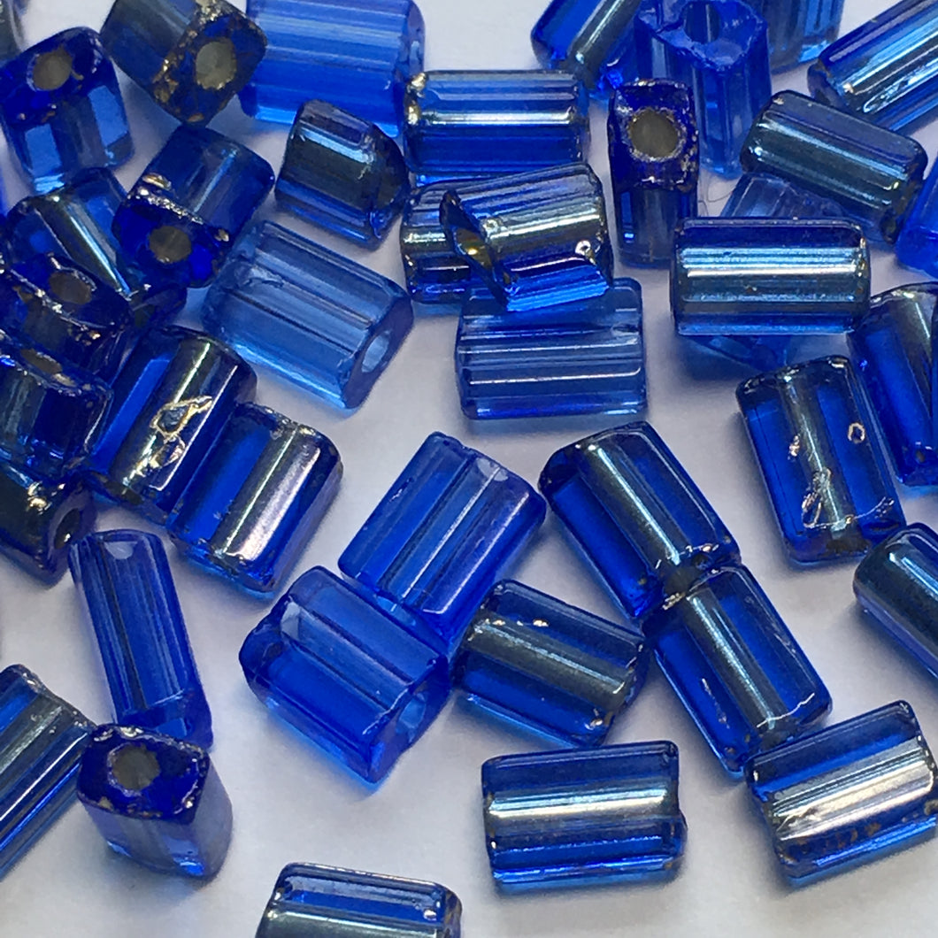 Transparent Blue and Silver Lined Glass MIX Flat Rectangle Beads, 5 x 4 x 3 Average Size, 50 Beads