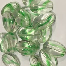 Load image into Gallery viewer, Clear Glass with Green Swirl Flat Oval Beads, 15 x 10 x 5 mm - 20 Beads