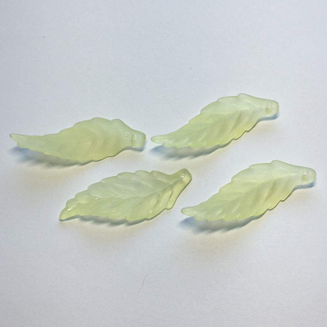Translucent Light Green Acrylic Leaf Beads, 40 x 14 mm, 4 Beads