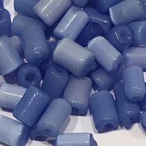 Blue Glass Tube Beads, Avg 8 x 5 mm - 74 Beads