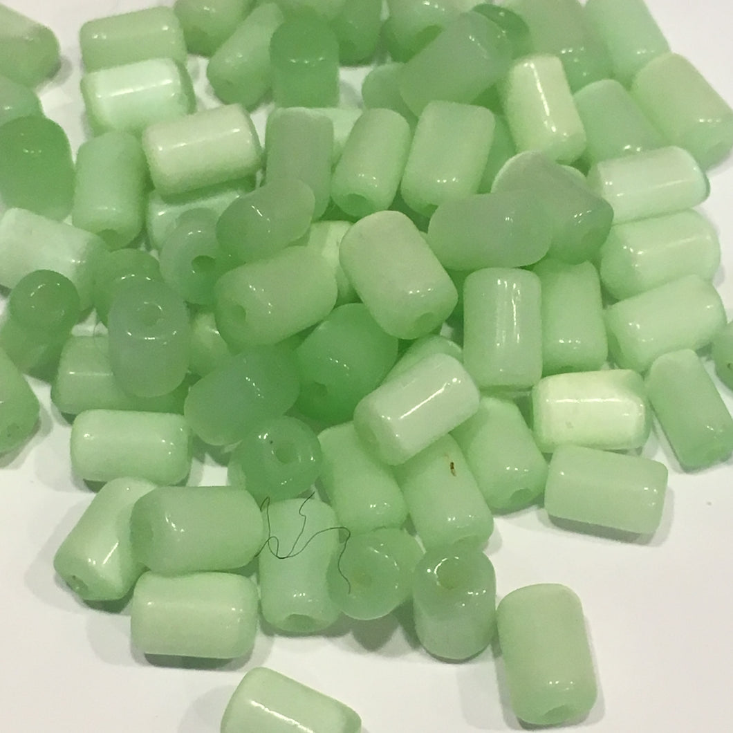 Light Green Painted Glass Tube Beads, Average Size 8 x 5 mm, 85 Beads