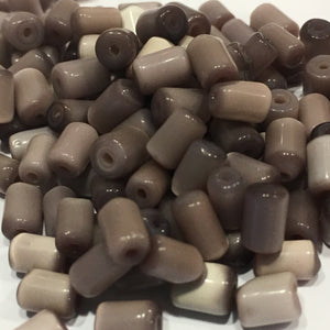 Brown Glass Tube Beads, Average Size 8 x 5 mm, 145 Beads