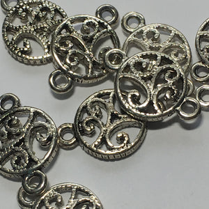 Antique Silver Round Flat Vine Links, 16 x 10 mm - 9 Links