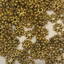 Load image into Gallery viewer, Antique Gold Daisy Spacers, 4 x 1 mm - 100 Spacers