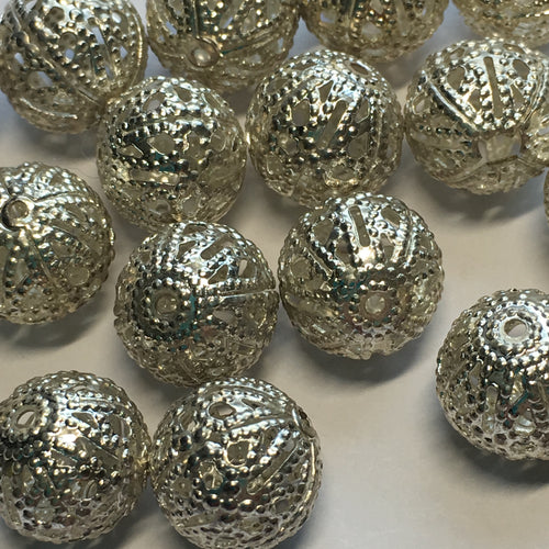 Silver Filigree Metal Beads, 10 mm, 24 Beads