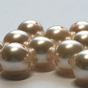 Light Pink Pearl Round Glass Beads, 10 mm, 16 Beads