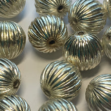 Load image into Gallery viewer, Silver Fluted Metal Plated Acrylic Beads, 12 mm - 25 Beads