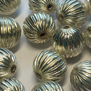 Silver Fluted Metal Plated Acrylic Beads, 12 mm - 25 Beads